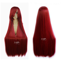 Cheap Free Shipping women japanese 100cm long heat resistant dark red cosplay anime wig party wigs
