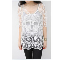 Wholesale 2014 New Chic Fashion Women s Chic Embroidery Lace Floral Crochet Blouse S Skull Half Sleeve Crochet Mesh Tops