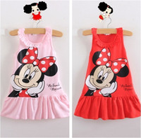 TuTu Summer A-Line New 2014 Kids girls clothes cute Mickey Mouse Minnie Dress, 2 colors of red and pink mini Clothes, KT cat baby girls dress