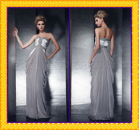 Model Pictures Sweetheart Chiffon 2014 Elegant Silver Chiffon Beach Prom Dresses Strapless Sweetheart Neckline Shiny Crystals Beaded Body Hugging Greek Goddess Party Gowns
