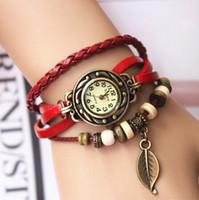 Wholesale New Arrivals Genuine Leather Hand Knit Vintage Watches bracelet Wristwatches Leaf Pendant SB