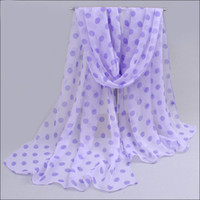 Wholesale 4pcs In Fashion Chiffon Scarves For Women Online Lilac Dot Summer Shawls Sarongs And Pareos Beach Wear Solid Color Scarves Multi Colors