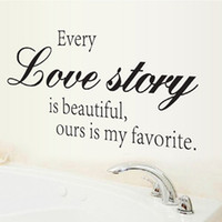 Wholesale 1set New CM Finish Size Classic Solid Characters quot Love Story quot Stickers Bathroom Kitchen Sofa Wallstickers
