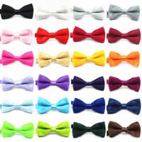 Wholesale 10 Children Kids Boys Toddler Infant Solid Bowtie Pre Tied Wedding Bow Tie silk tie black and white necktie silk jacquard fx48