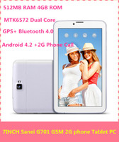 Wholesale Sanei G701 quot pad Phone Tablet Phablet G GSM Android Dual Core unlocked Phone tablet Pc MTK6572 inch MB GB Ghz
