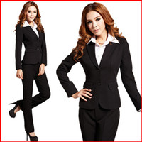 Women Skirt Suit Formal 2014 autumn and winter fashion women's pant suits long sleeve ol ladies sets career business clothing set black