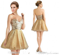 Gold homecoming dresses 2014 hot Sweetheart sequins A Line O...