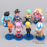 Wholesale Anime One Piece Luffy Zoro Usopp Sanji Perona Little Oz Junior Q Version Mini PVC Action Figures Toys Dolls set OPFG309