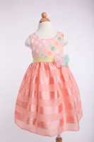 TuTu Summer A-Line Vest Fashion style 2014 Summer Pre-Teen Girls Colorful material Polka Dots Cotton blend Stripe Teenager sleeveless Dresses in yellow D064
