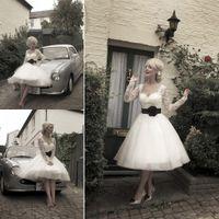 Wholesale 2014 Hot sale sweetheart short plus size A line wedding dresses tea length organza vintage sheer lace beach wedding dress bridal gown
