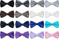 Wholesale 10 New Mens Pure Plain Bowtie Polyester Pre Tied Wedding Bow Tie silk tie black and white necktie silk jacquard woven tie Free