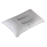 Wholesale 50pcs New Portable Folding Double Sided Flocking Inflatable Pillow Suede Fabric Cushion for Outdoor Camping Travel Office Plane H11062GY