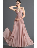 Wholesale Cheap Sweetheart back bandage prom dress A Line Dusty pink chiffon floor length Spaghetti strap Evening Gown