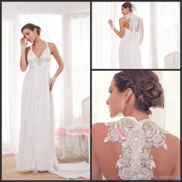 Wholesale Vintage Anna Campbell Gladiator Dress Chiffon Summer Beach Wedding Dresses Sexy Halter Backless Appliques Beaded Empire Bridal Dress BO5905