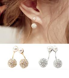 Wholesale idealway Korea style gold silver plated metal pearl steel full rhinestone ball charms stud earrings pairs