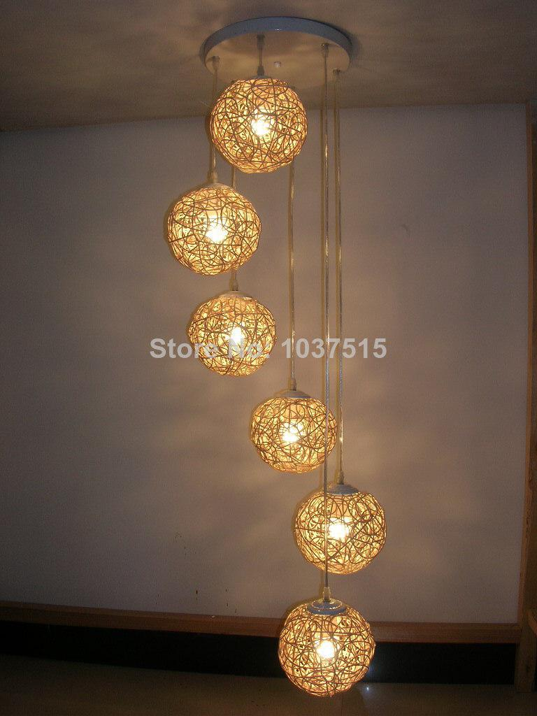 6 Light Natural Rattan Woven Ball LED Pendant Lights Living Room ...