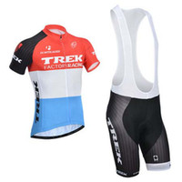 Wholesale Hot Trek Team Cycling Jerseys Bicycle Apparel Men s Bicycle Wear Size XL Gel Padded Bib Pants Short Sleeve Bicycle Trek Cycling Kits