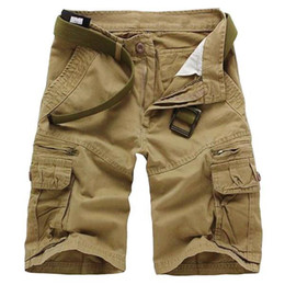 Wholesale S5Q Men s Casual Loose Camouflage Vintage Multi Pockets Military Army Cargo Shorts Pants AAABWH