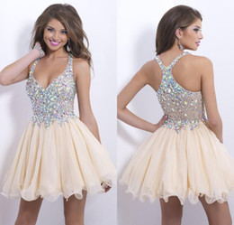 Wholesale 2014 New Fashion Homecoming Dresses Sexy Deep V Neck Mini Chiffon Short Crystal Bodice Short Prom Dress Party Cocktail Dresses B