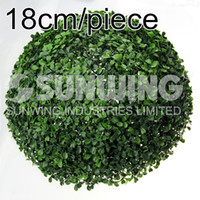 Decorative Flowers, Grass ball artificial boxwood ball - 18cm artificial grass ball faux boxwood balls plastic round kissing ball wedding garden decoration window display G0602C01