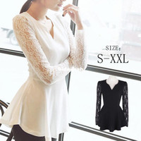 Women Lace Long Wholesale-women's blouse s lace V-neck slim pullover casual solid long sleeve plus size black blusa de renda women