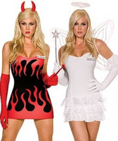 heavenly angel dress - Heavenly Devil Angel Red White Dress Up Halloween Sexy Adult Costume ZT8585