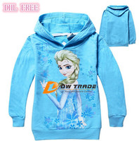 Unisex Spring / Autumn Hooded DHL FREE In Stock New frozen girls cotton long sleeve hoody children baby clothes kids cartoon elsa hoodies support mix order J070202#