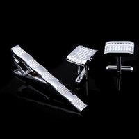 Wholesale 2014 New Arrival Elegant Mens Silver Gift Set Tie Clips and Cufflinks GA4011