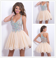 Wholesale Stunning Cheap Short Mini Champagne Homecoming Dresses Halter Rhinestone Crystals Ruffle Sheer Chiffon Princess Cocktail Party Dress