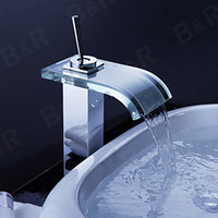 Cheap Free shipping B&R Brass Chromed Faucet Glass Waterfall Bath Basin Mixer bathroom tap basin faucet LH-8006