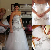 White sweetheart crystal wedding dresses 2014 sleeveless app...