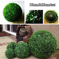 Decorative Flowers, Grass ball artificial boxwood ball - One Set cm cm artificial grass boxwood ball kissing ball for wedding garden decoration G0602C01