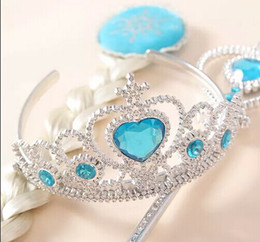 Wholesale 2014 new Frozen Princess Elsa Anna synthetic straight clip in hair extension wig periwig crown magic wand tiaras cosplay party Magic wand