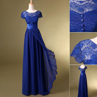 Wholesale In Stock Maid of Honor Cheap Bridesmaid Dresses Dress Formal Ball Gowns Royal Blue Prom Short Sleeves With Lace Long Evening Dresses