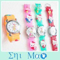 Wholesale 5 Cartoon Hello Watches Kids children KT Watch Silicone band Wristwatches