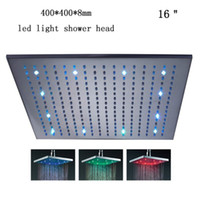 Wholesale New quot Inch mm RGB LED light Stainless Steel Rainfall Rain Bathroom Shower Head Brushed Finished