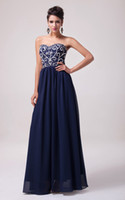 Model Pictures dress blue grace - Grace Karin Long Beaded Chiffon Strapless Cocktail Formal Party Prom Ball Gown Evening Dresses Navy Blue CL6050