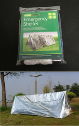 Wholesale First Aid Emergency Shelter Tent PET Aluminized Film Outdoor Summer Camping Hiking Survival Rescue Emergency Blanket Tube Tents