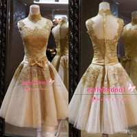 Reference Images High Neck Organza 2015 Gold Cute Cocktail Dresses Sexy Cheap High Neck Applique Lace Organza A-Line Mini Short Party Cocktail Prom Gowns Custom Made