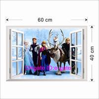 Wholesale 2014 FROZEN Elsa Anna PRINCESS D Window View Cartoon Decal WALL STICKER PVC Removable Wall Sticker Home Decor Art Kids Nursery