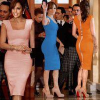 Chiffon square fashion - New Womens Fashion Elegant Summer Sleeveless Square Collar Back Full Zipper Bodycon Party Pencil Plus Size Midi Dresses