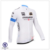 Wholesale 2014 la gazzetta dello sport cycling jersey set long sleeves shirts white color size XS XL