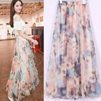 Chiffon Long Flower Wholesale - Fashion Women's Boho Bohemian Chiffon Summer Beach Long Maxi Dress Long Skirt SV002260