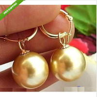 Wholesale HUGE perfect round AAA mm SOUTH SEA golden Shell Pearl EARRING K YG MARKE