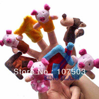 "Unisex 0-12 Months Multicolor 8Pcs Soft Plush Puppet Finger Toys ""The Three Little Pigs"" Educational Story-telling Toy For Children free shipping 8454"
