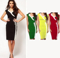 Wholesale New Top Fashion Womens Casual Button Career Wear to work business Pinup Bodycon Fitted Sheath Pencil Dresses