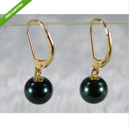 Wholesale 9 MM AAA BLACK TAHITIAN PEARL DANGLE EARRING K YELLOW GOLD MARKED