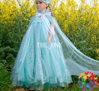 Summer balloon sleeve dresses - girls frozen dress elsa frozen princess new Spaghetti Strap balloon dress girls elsa custom made frozen dress girls elsa dress with cape