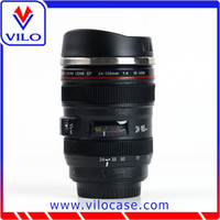 Wholesale New Black Camera Lens Cup Coffee Tea Travel Mug Stainless Steel Thermos Lens Lid Cup Gift