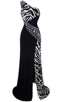Wholesale 2016 New Arrival One Shoulder Zebra Beaded Gemstones Stitching Evening Dresses Prom Gowns A BK